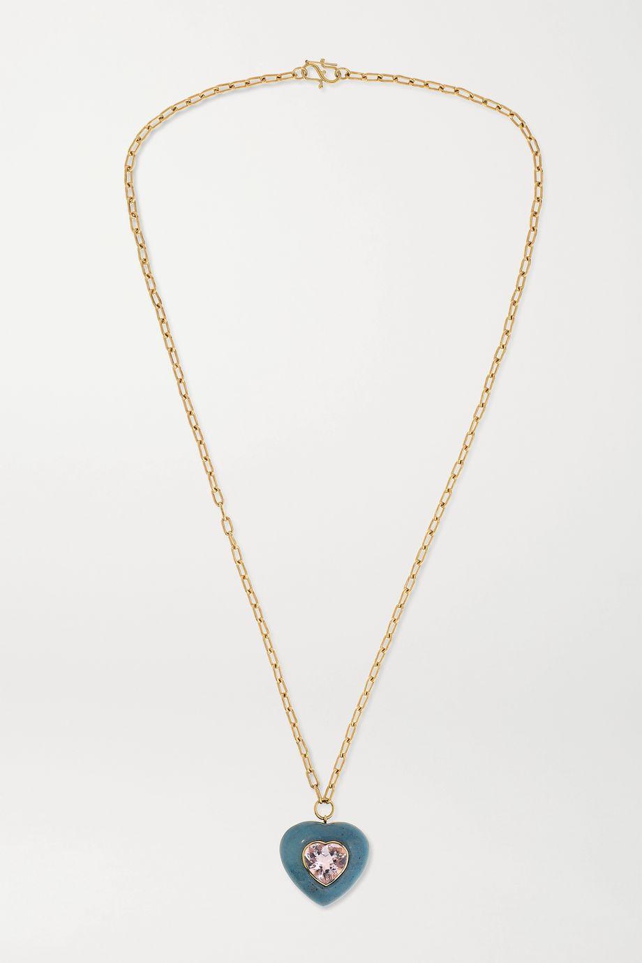 Retrouvaí Lollipop 14-karat gold, trolleite and morganite necklace