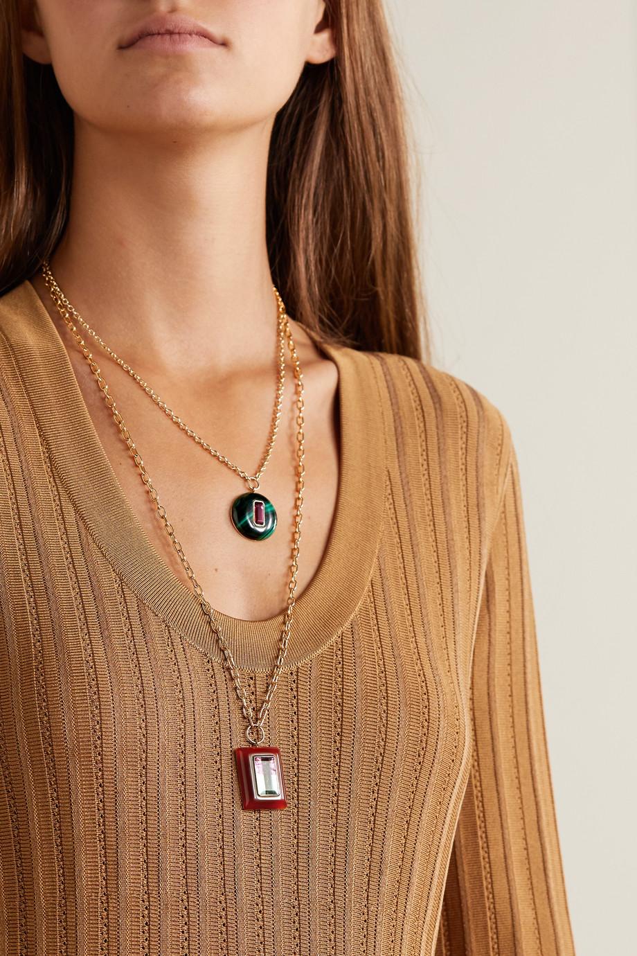 Retrouvaí Lollipop 14-karat gold, carnelian and tourmaline necklace