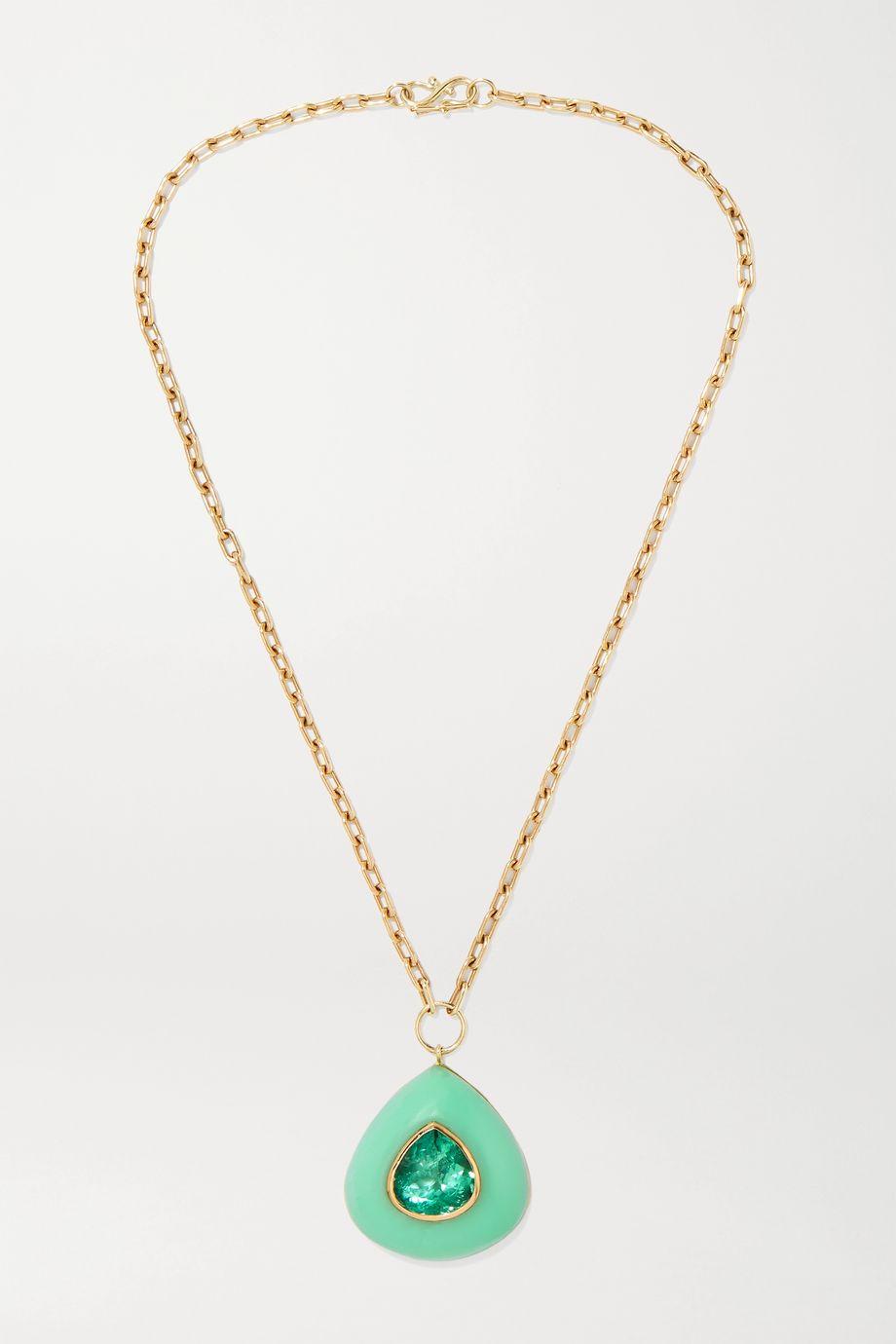 Retrouvaí Lollipop 14-karat gold, chrysoprase and emerald necklace