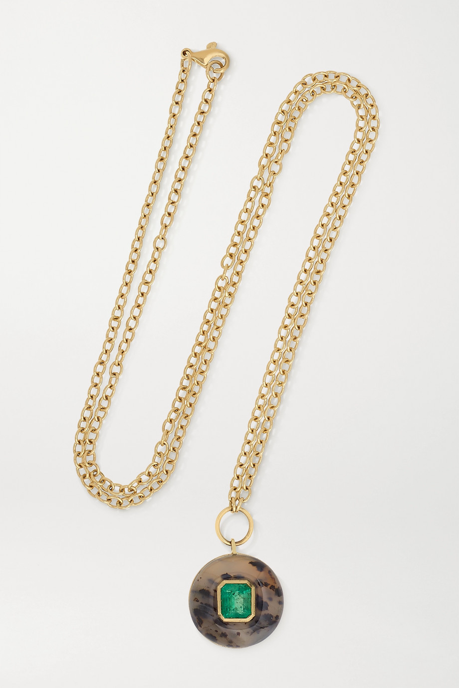 Retrouvaí Lollipop 14-karat gold, dendrite and emerald necklace
