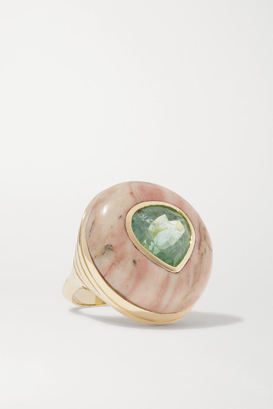 Retrouvaí Lollipop 14-karat gold, jasper and tourmaline ring