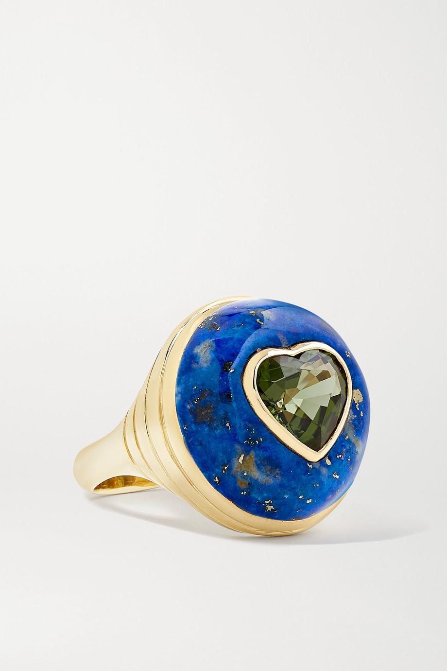 Retrouvaí Lollipop kleiner Ring aus 14 Karat Gold mit Lapislazuli und Turmalin