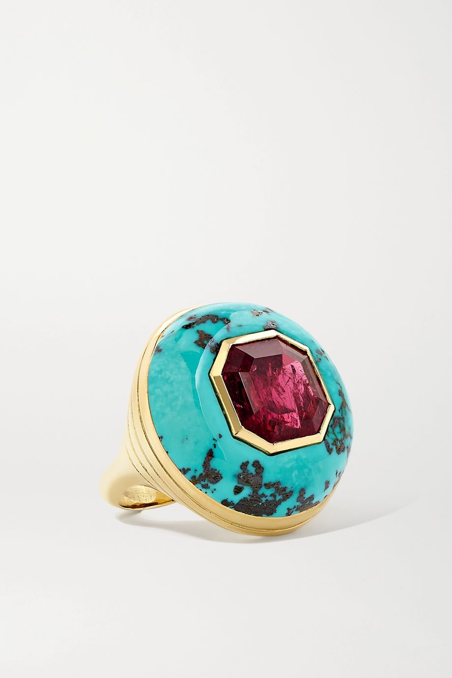Retrouvaí Lollipop 14-karat gold, turquoise and tourmaline ring