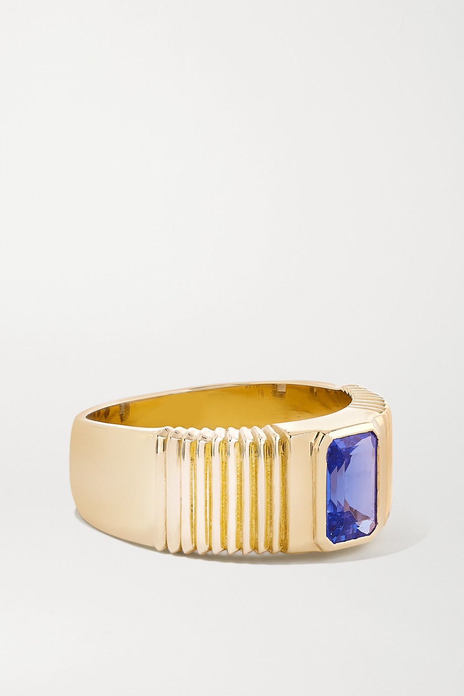 Retrouvaí Pleated Solitaire 14-karat gold tanzanite ring
