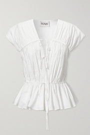 TOVE Thea gathered organic cotton-poplin top