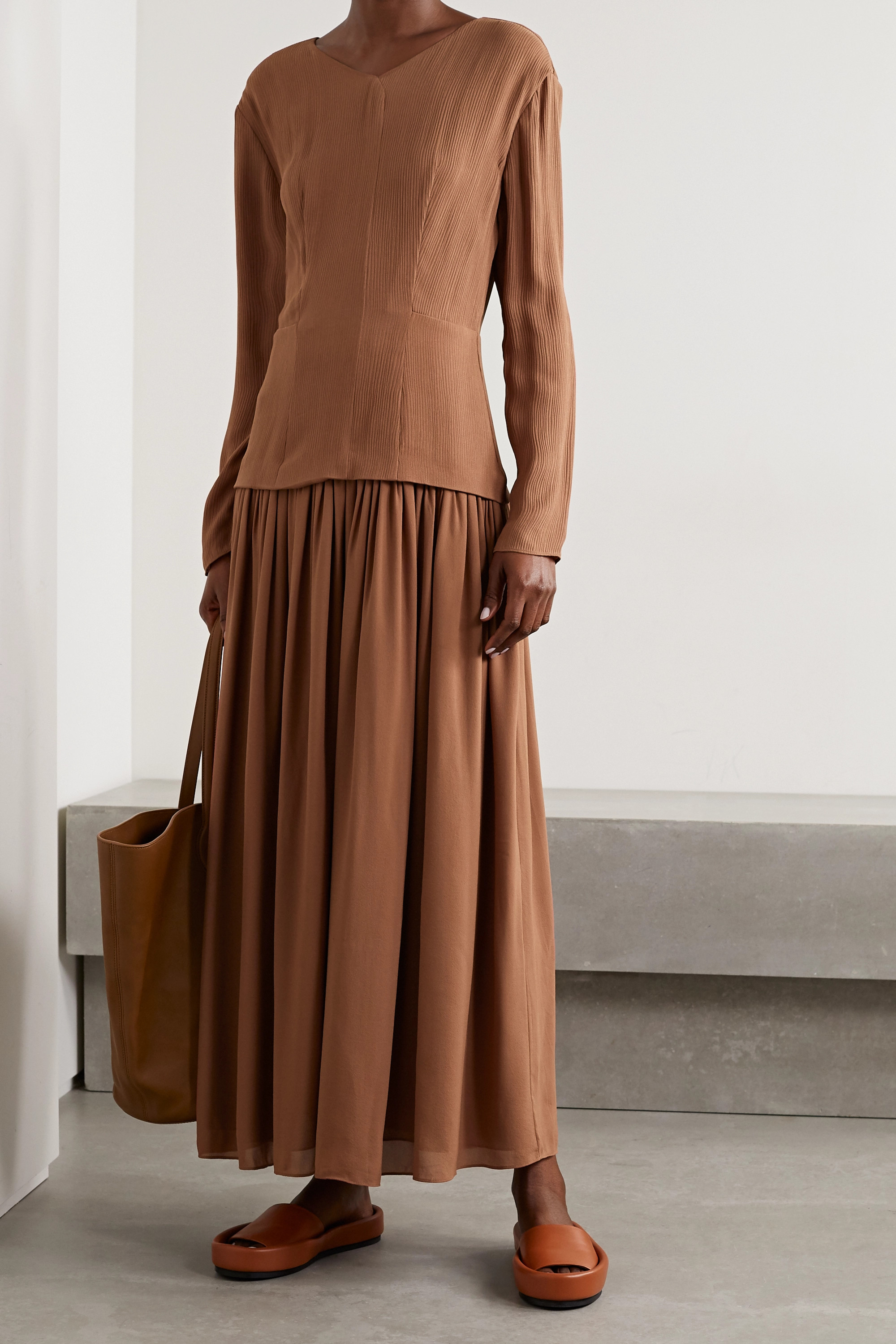 TOVE Etienne silk-crepon and pleated georgette maxi dress