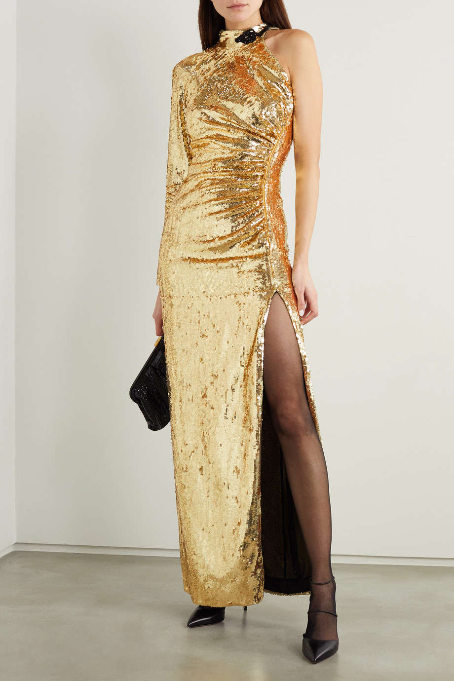 Dundas One-sleeve bead-embellished sequinned organza gown