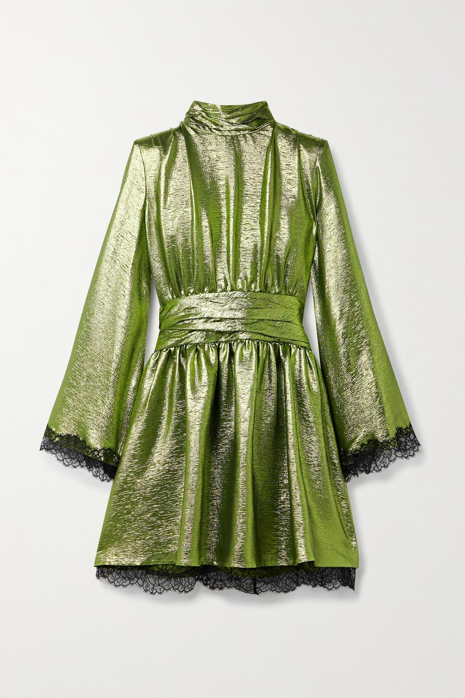 Dundas Lace-trimmed silk-blend lamé turtleneck mini dress