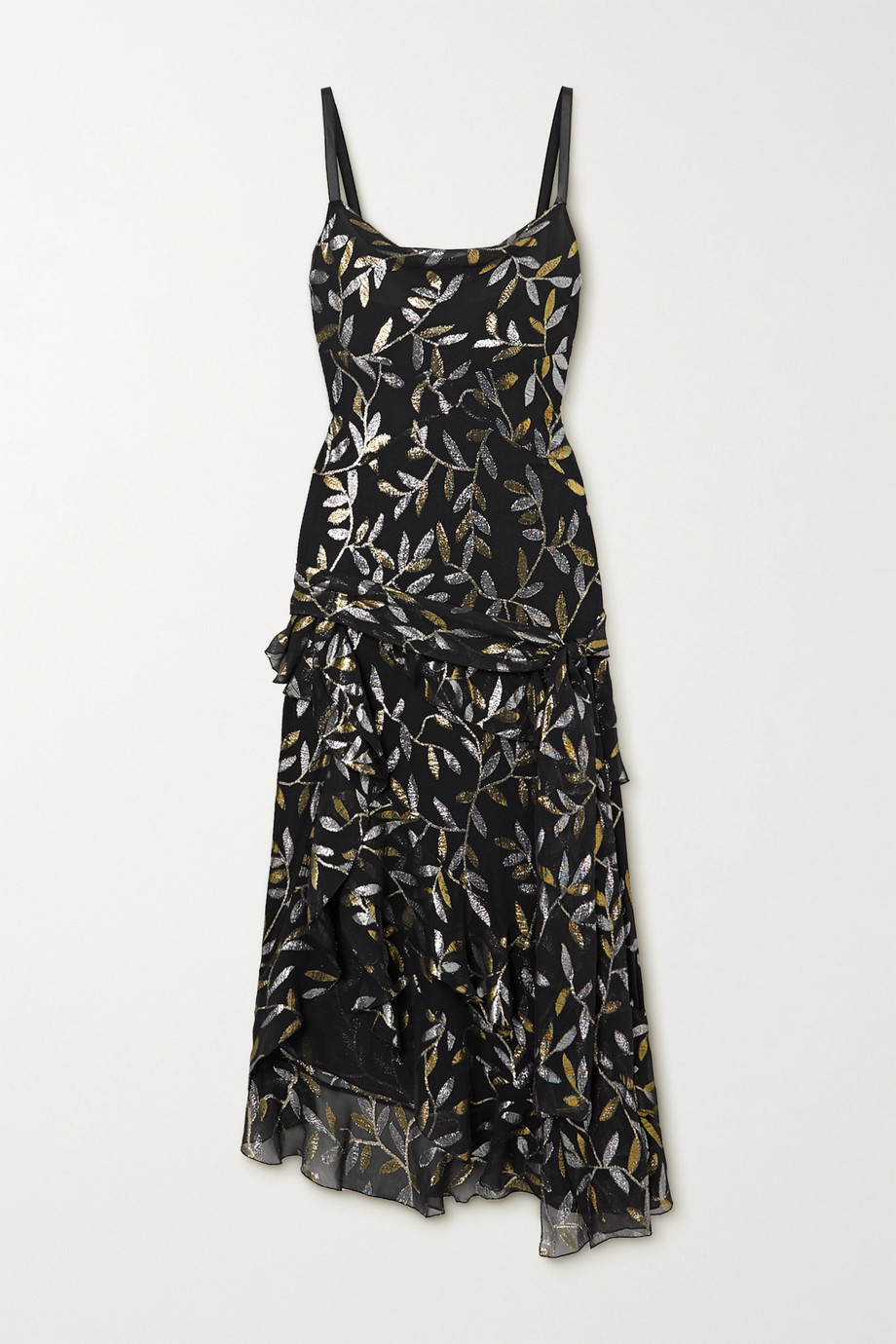 Dundas Asymmetric ruffled metallic fil coupé silk-blend chiffon dress