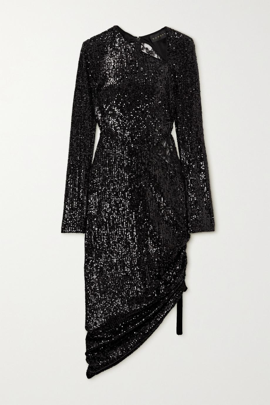 Dundas Asymmetric lace-paneled sequined jersey dress