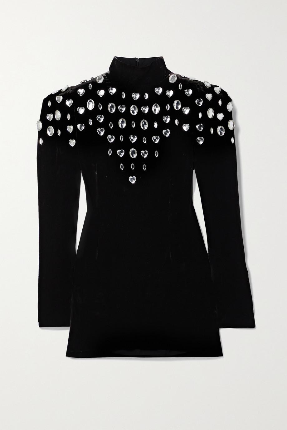 Dundas Embellished crushed-velvet mini dress
