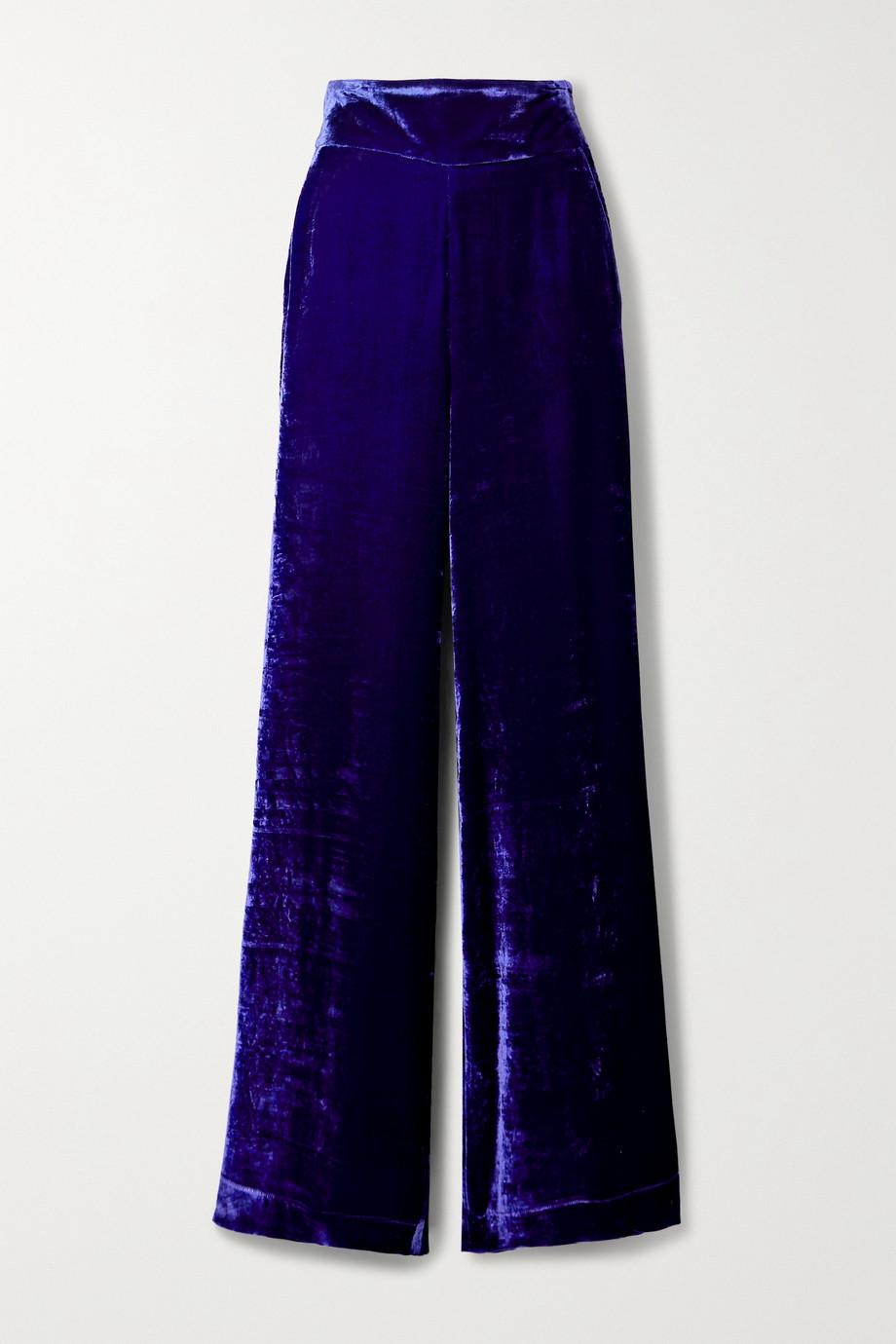 Dundas Crushed-velvet straight-leg pants