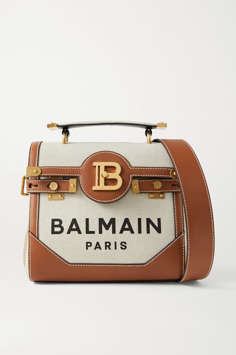 Balmain B-Buzz 23 leather-trimmed printed canvas shoulder bag