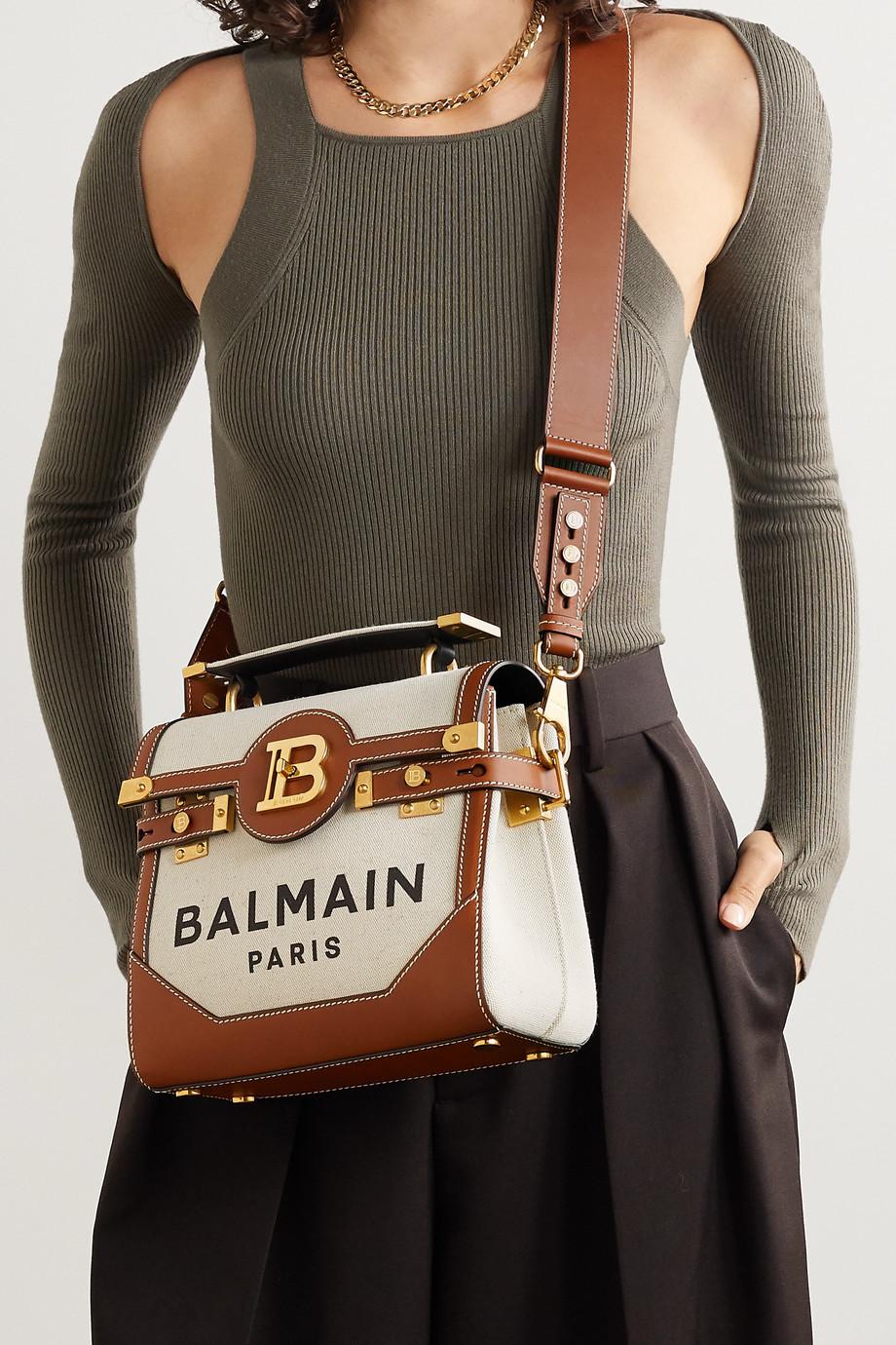 Balmain B-Buzz 23 Schultertasche aus bedrucktem Canvas mit Lederbesatz