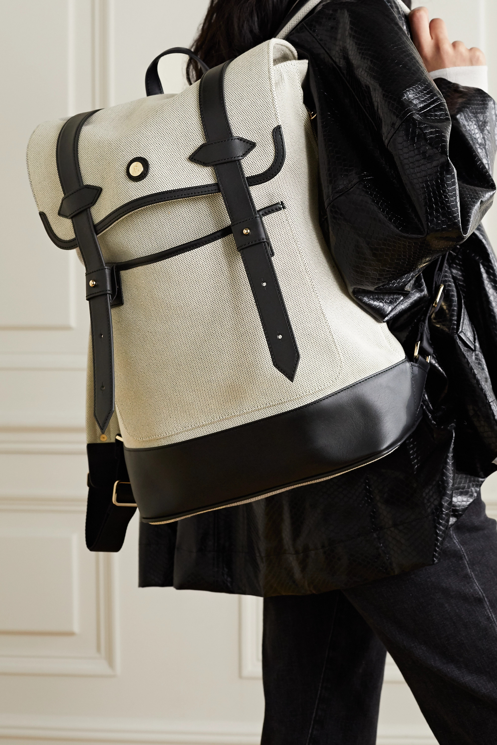 Paravel Upland leather-trimmed canvas backpack