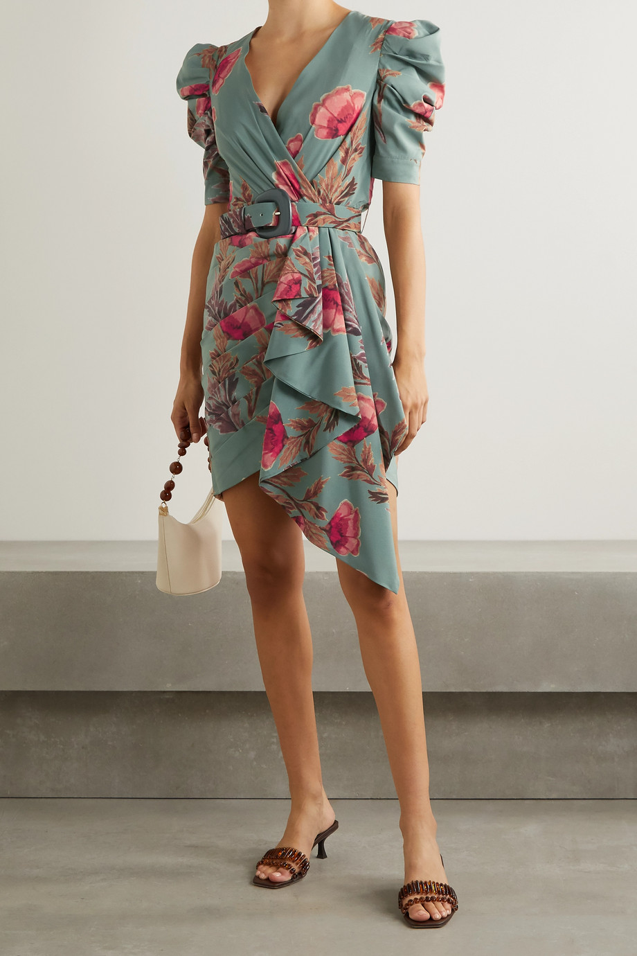 PatBO Belted wrap-effect pleated floral-print crepe mini dress