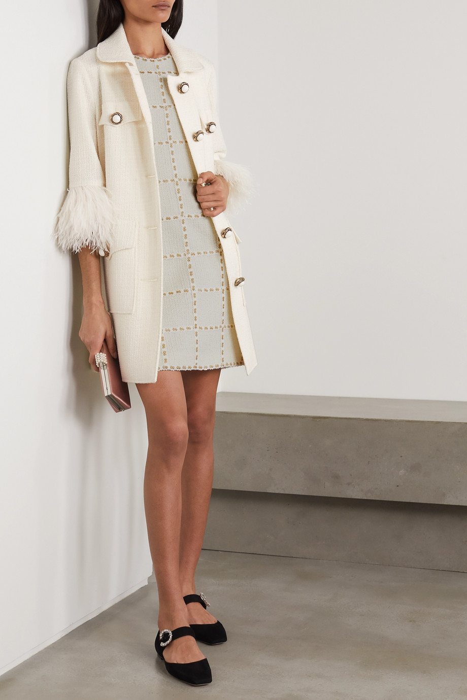 Andrew Gn Feather-trimmed wool-blend tweed coat