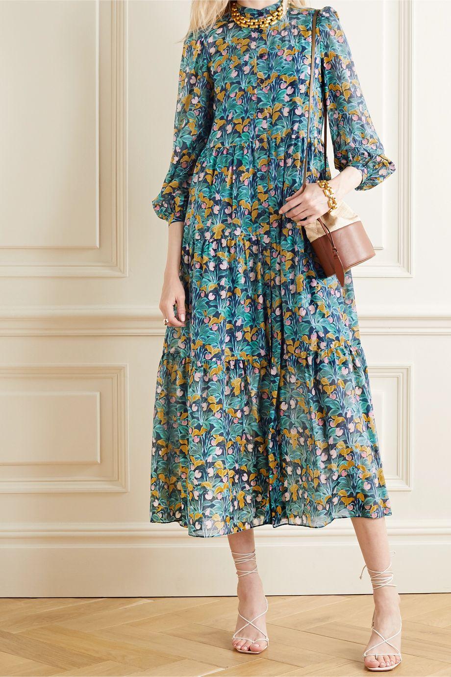 Diane von Furstenberg Nea 层接式花卉印花棉丝混纺中长连衣裙