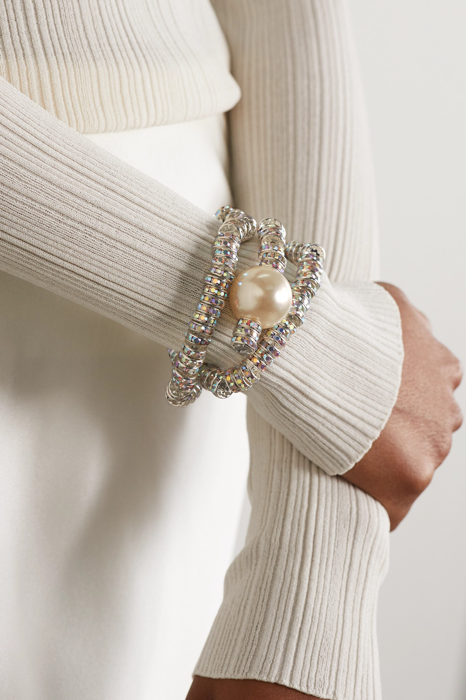 PEARL OCTOPUSS.Y Convertible silver tone, crystal and faux pearl cuff