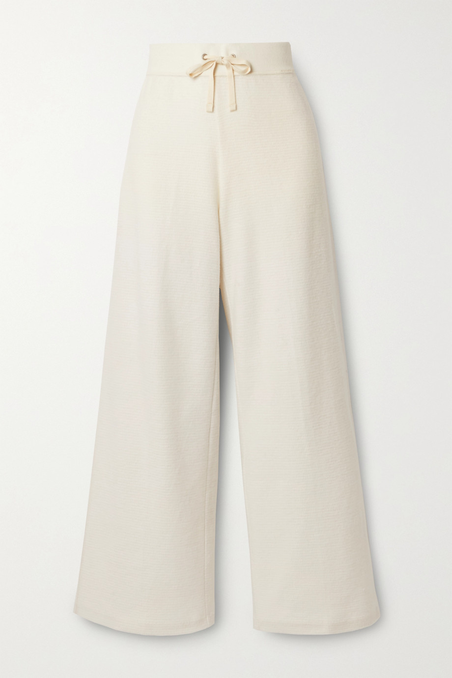 James Perse Brushed waffle-knit cotton and cashmere-blend wide-leg pants