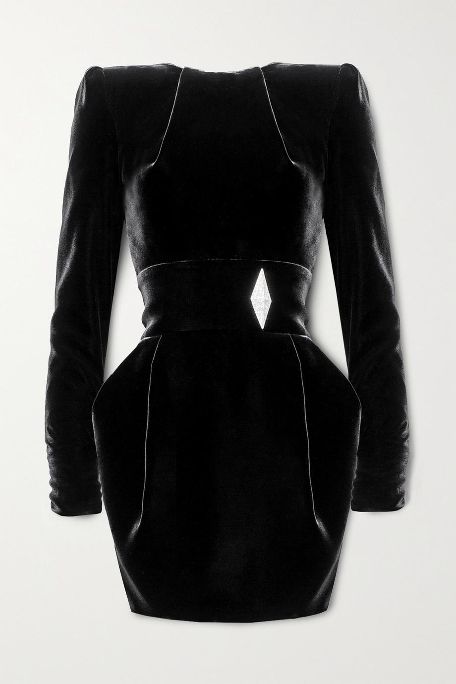 Alexandre Vauthier Mini-robe en velours à cristaux