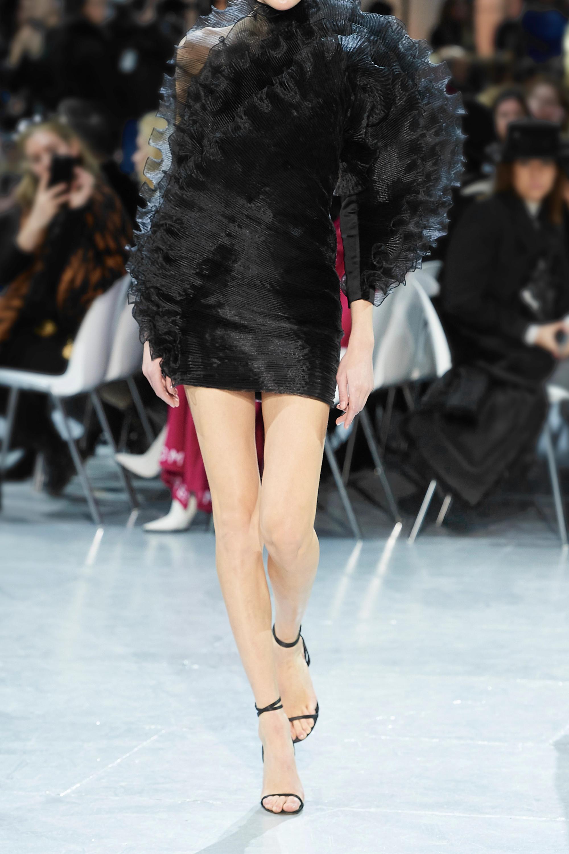 Alexandre Vauthier One-sleeve ruffled organza-trimmed wool-crepe mini dress