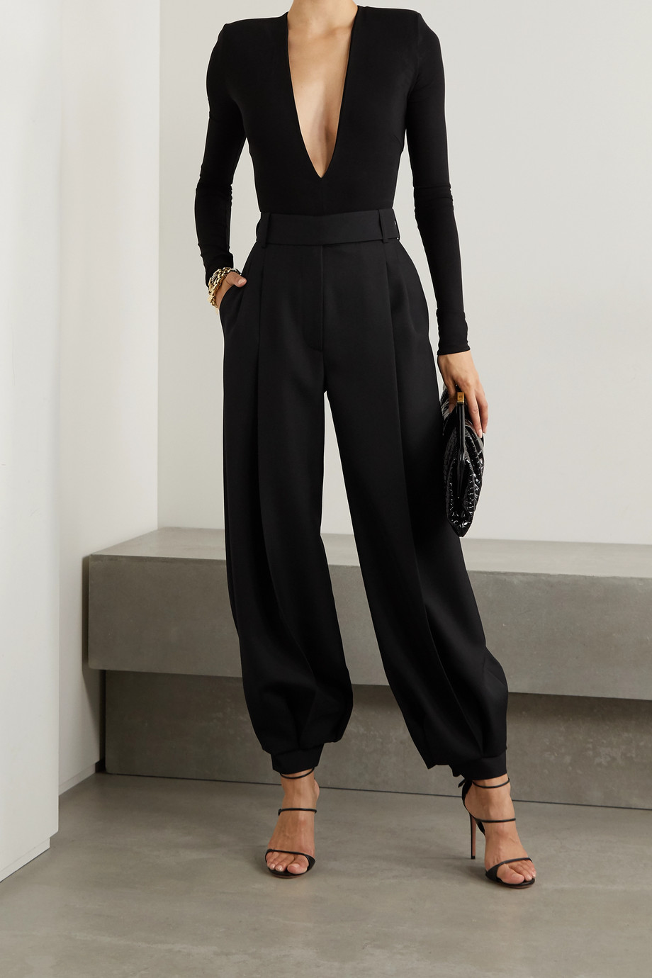 Alexandre Vauthier Pleated wool wide-leg pants