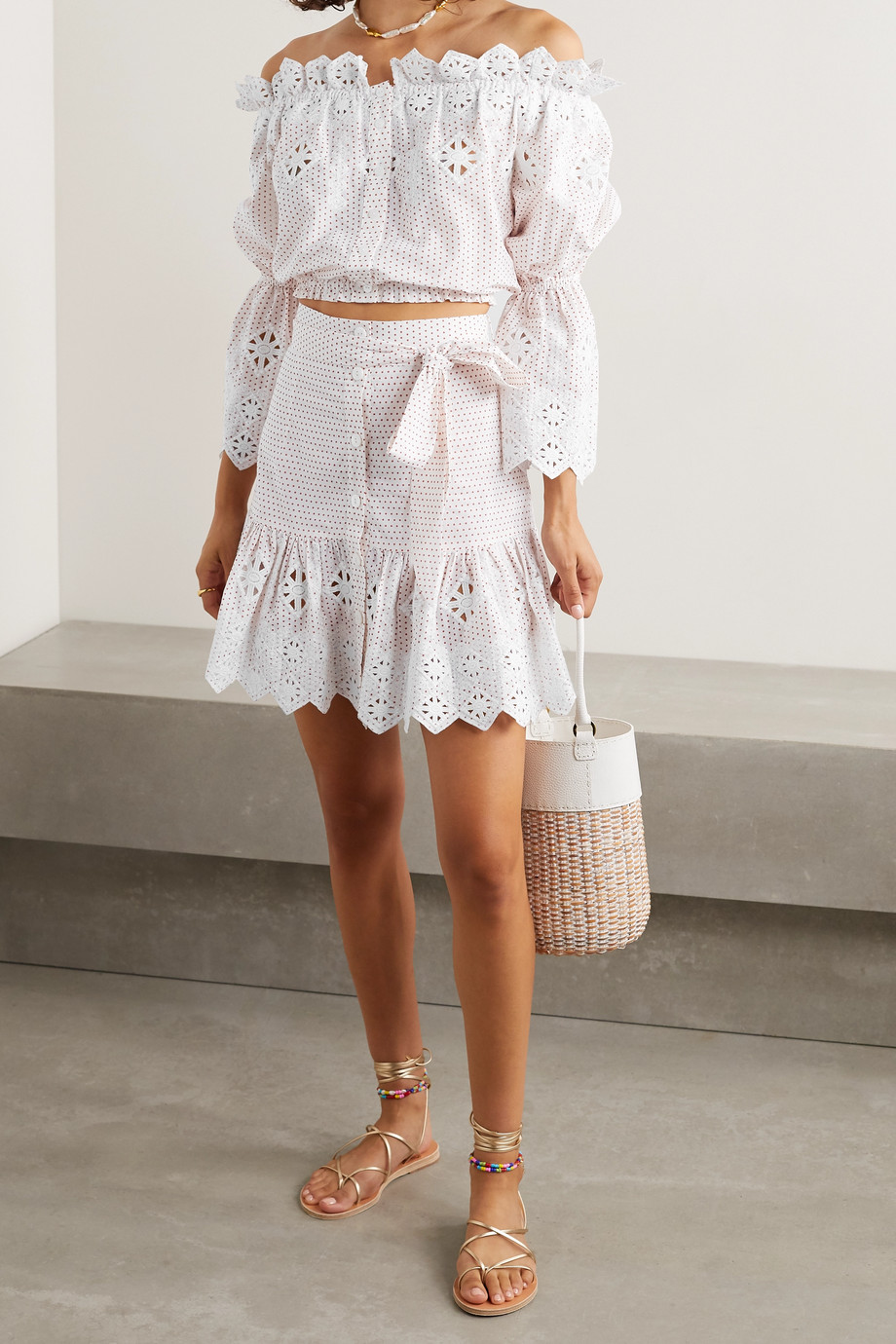 Miguelina Ari off-the-shoulder embroidered polka-dot cotton-poplin top