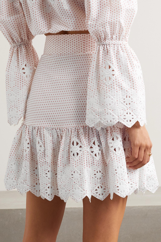 Miguelina Emy embroidered polka-dot cotton-poplin mini skirt