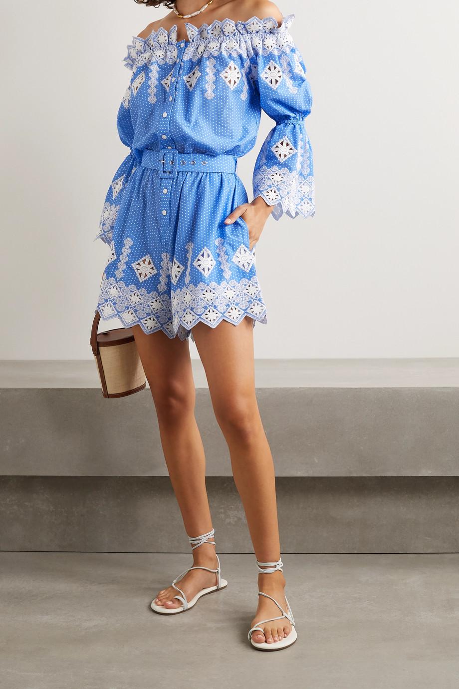 Miguelina Halle off-the-shoulder embroidered polka-dot cotton-poplin playsuit