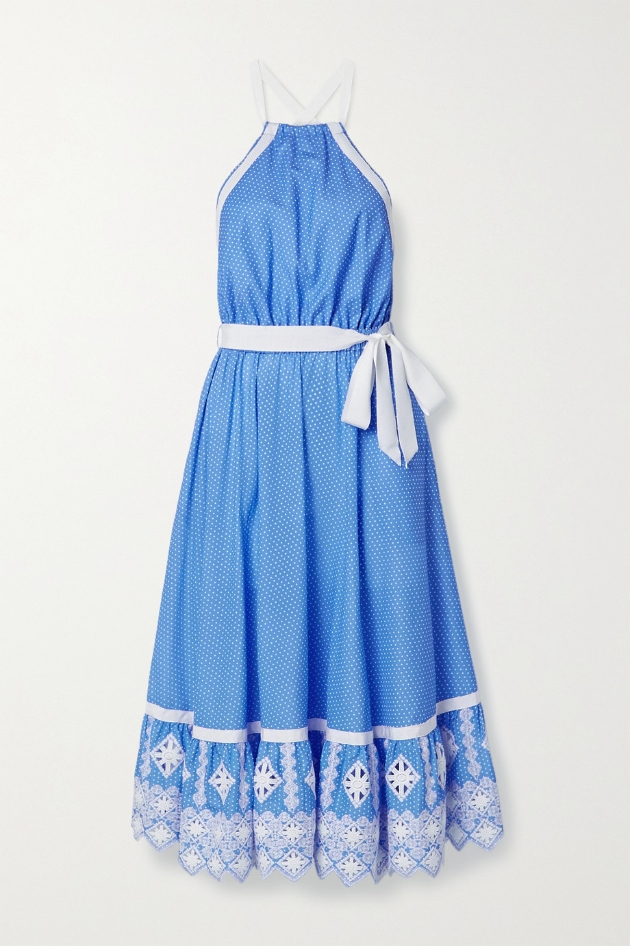 Miguelina Amanda open-back embroidered polka-dot cotton-poplin midi dress