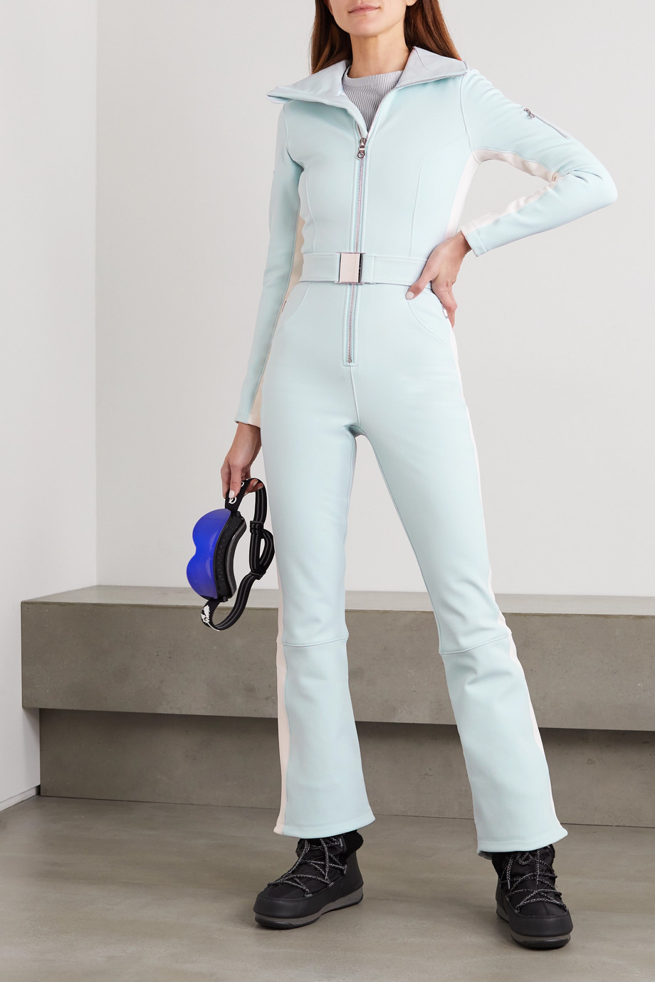 Cordova Signature Over The Boot belted striped ski suit
