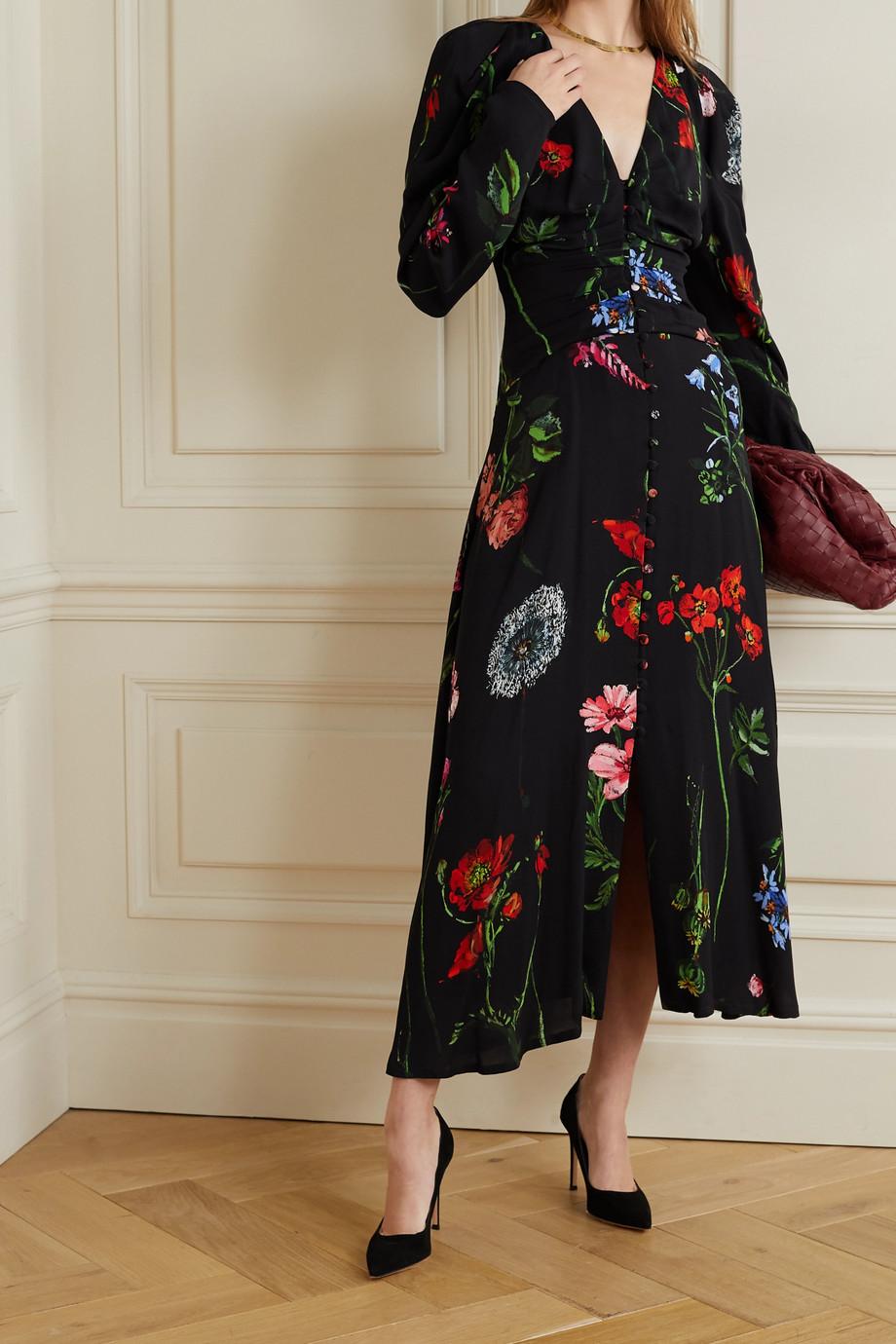 Lela Rose Ruched floral-print crepe midi dress