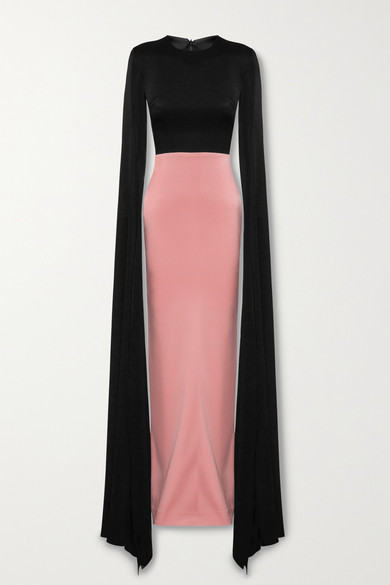 Alex Perry Julian Two-tone Cape-effect Satin-crepe Gown In Black