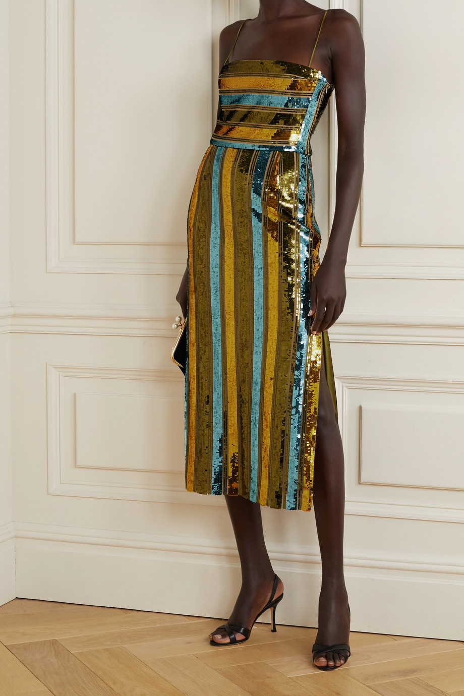 Galvan Stargaze striped sequined tulle midi dress