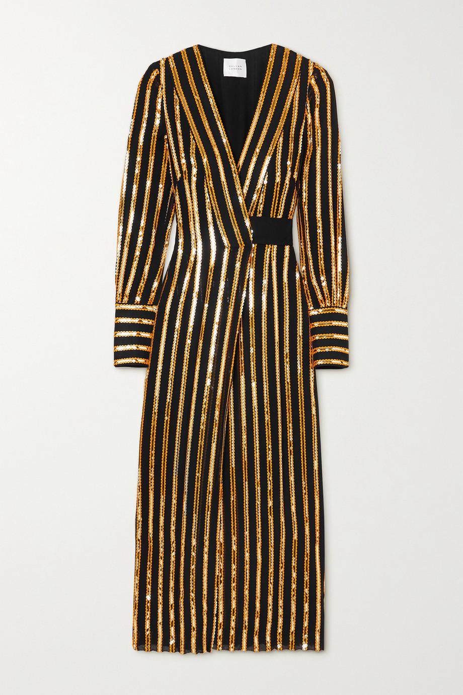 Galvan Pride sequin-embellished crepe wrap dress
