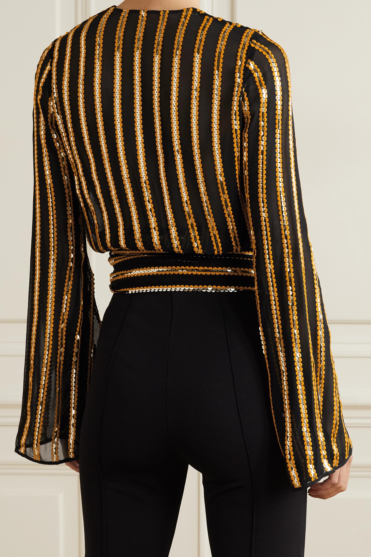 Galvan Pride sequin-embellished chiffon wrap top