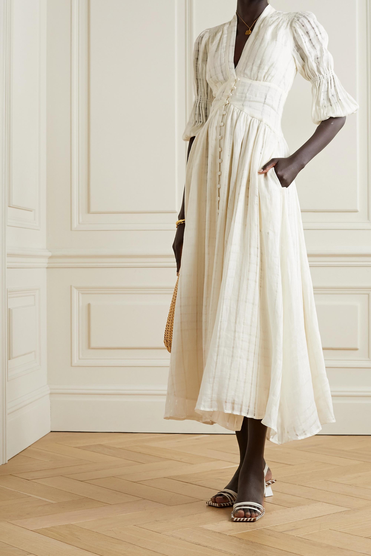 Cult Gaia Willow checked linen-gauze midi dress