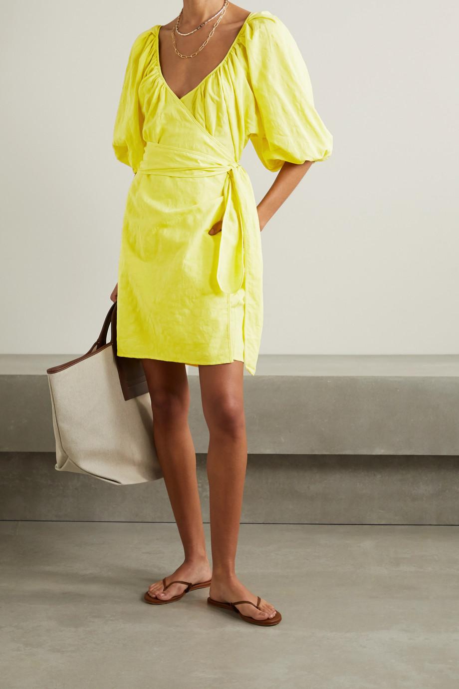 Mara Hoffman + NET SUSTAIN Coletta organic cotton and linen-blend mini wrap dress