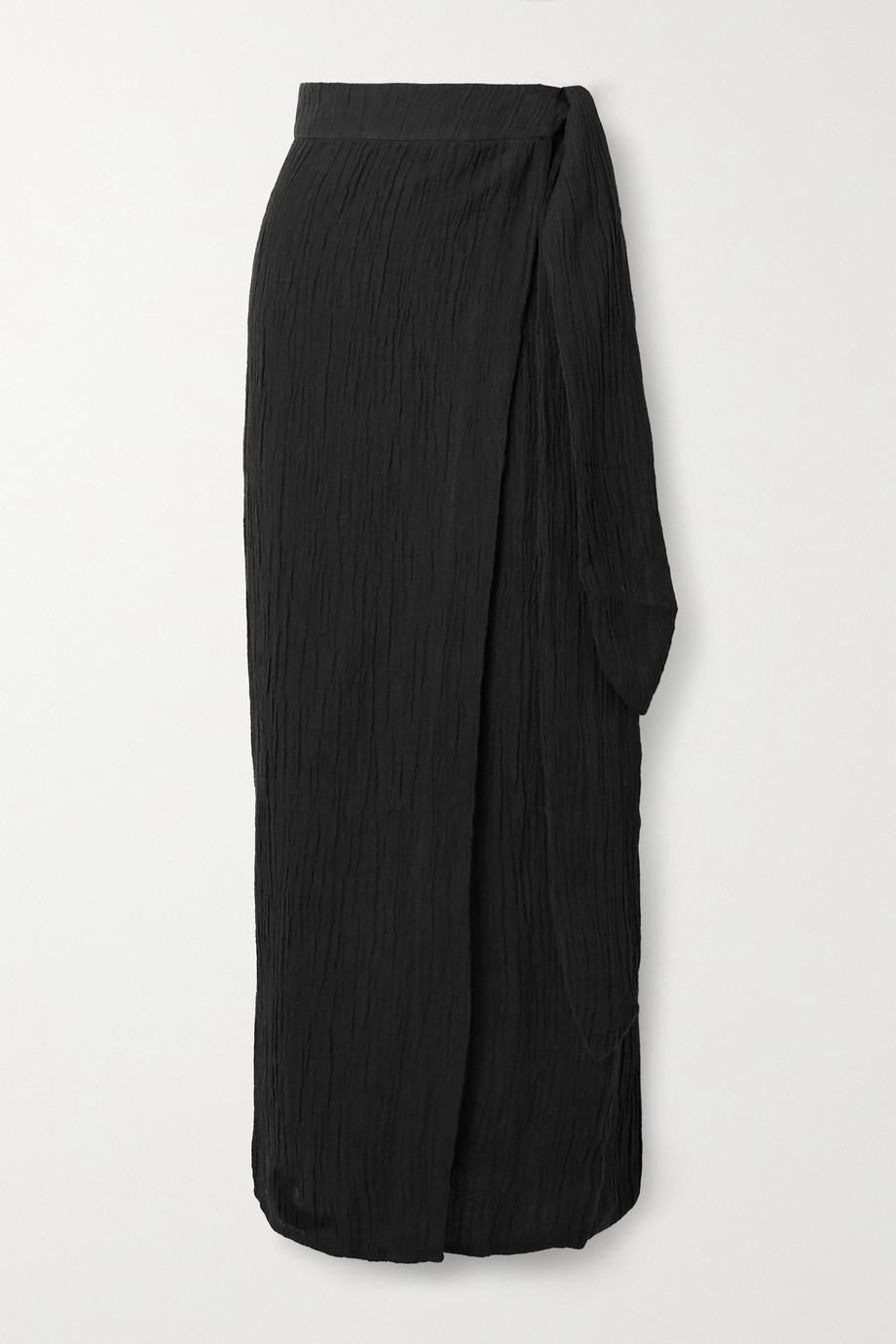 Mara Hoffman + NET SUSTAIN Thiago crinkled organic linen and cotton-blend wrap skirt