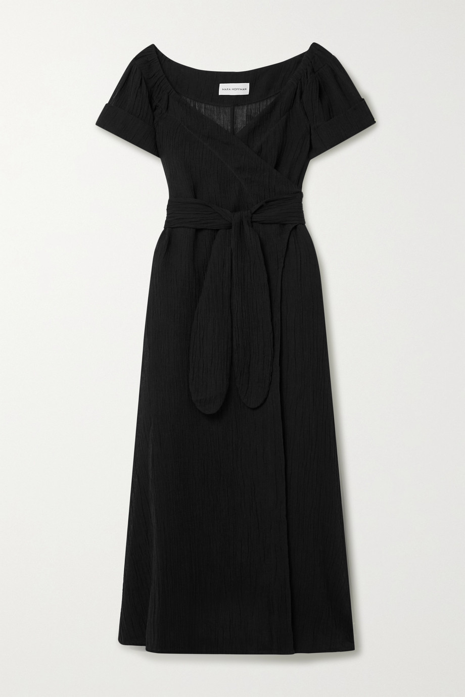 Mara Hoffman + NET SUSTAIN Adelina crinkled organic linen and cotton-blend gauze wrap maxi dress