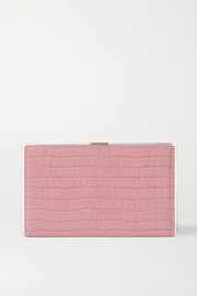 L'AFSHAR Delia croc-effect leather and acrylic clutch