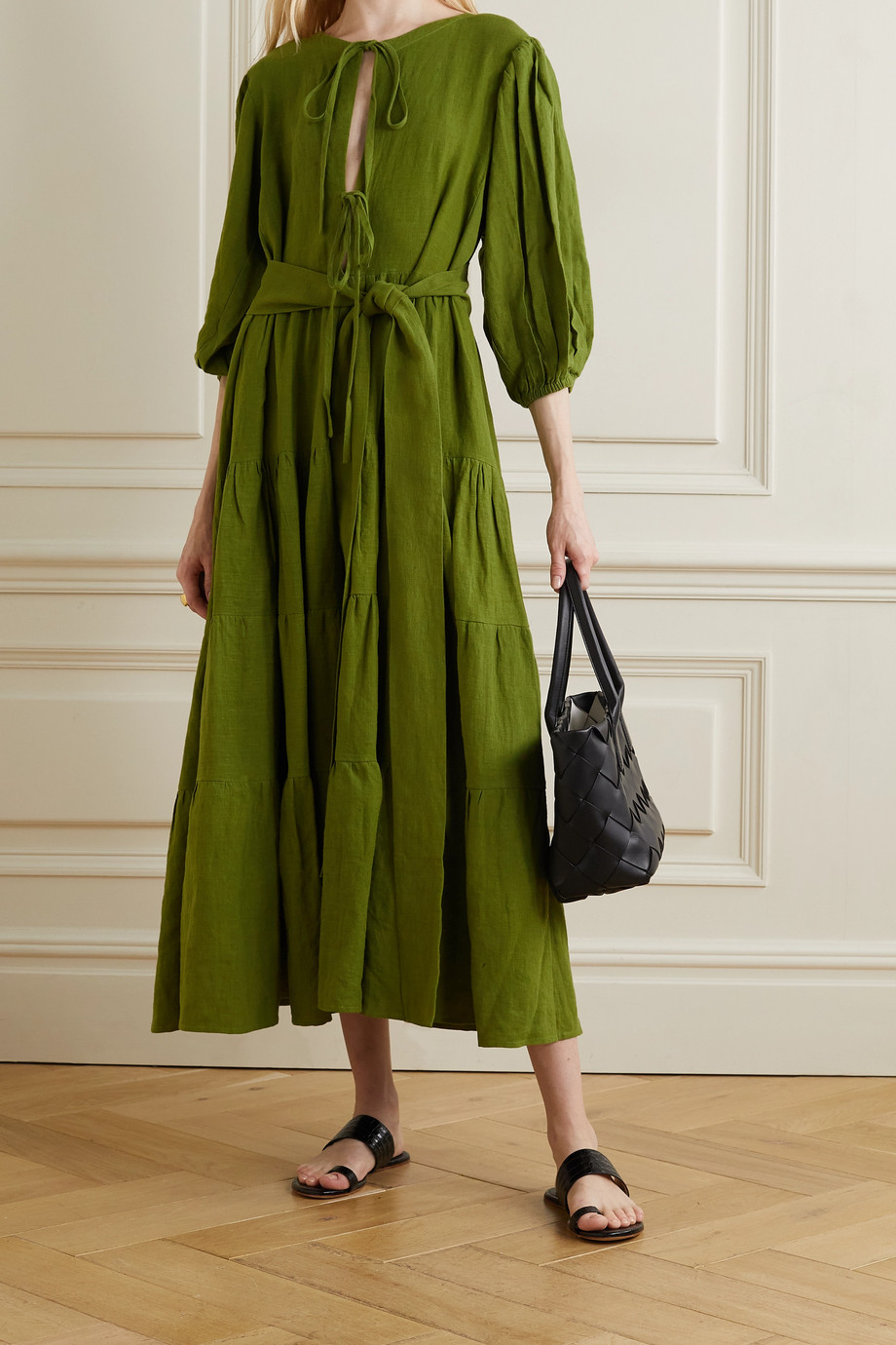 Fil De Vie + NET SUSTAIN Medina belted tiered linen midi dress