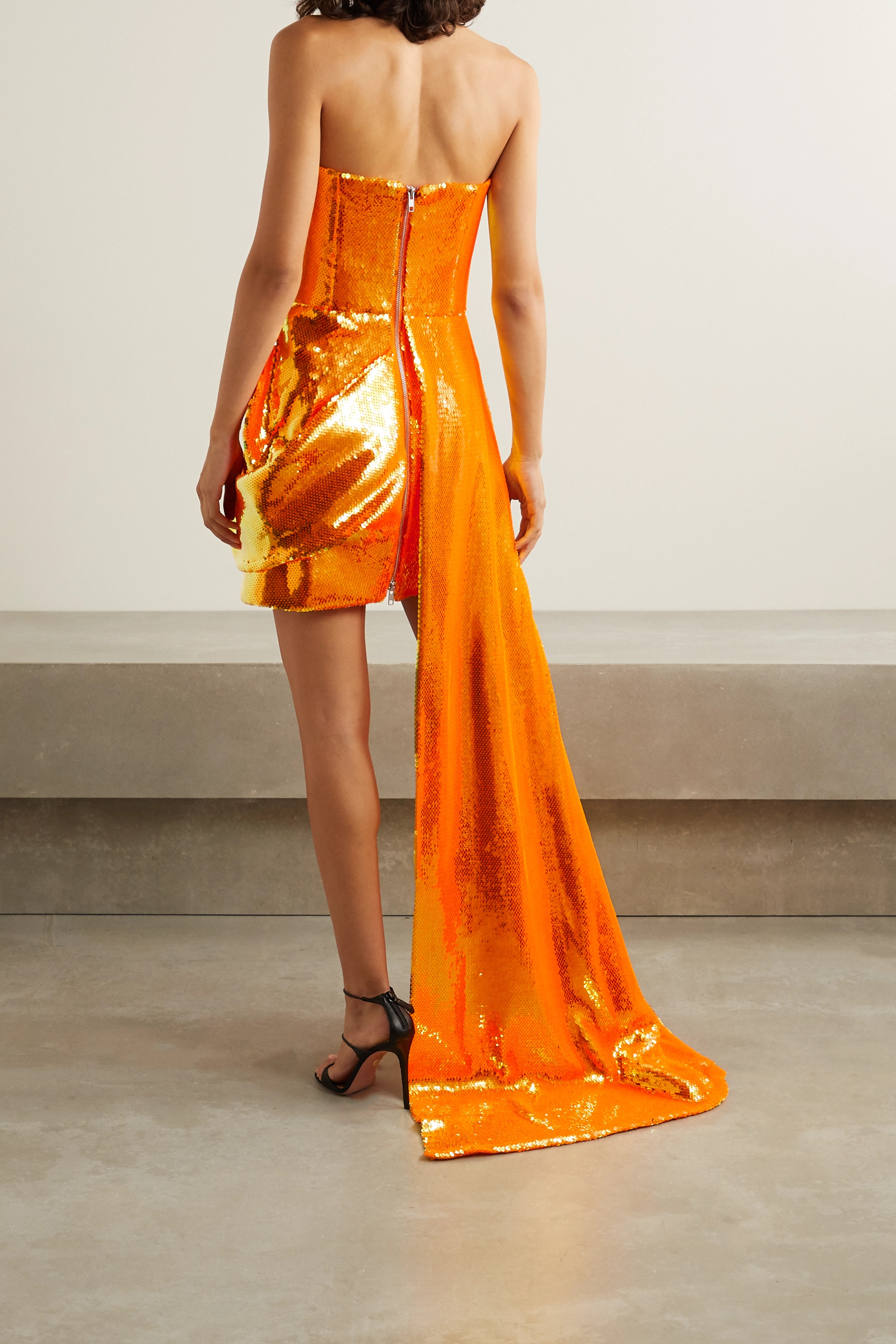 Alex Perry Blaine draped sequined tulle gown