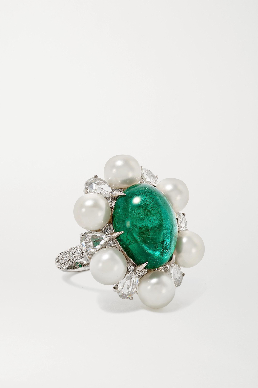 Amrapali - 18-karat white gold, pearl, emerald and diamond ring
