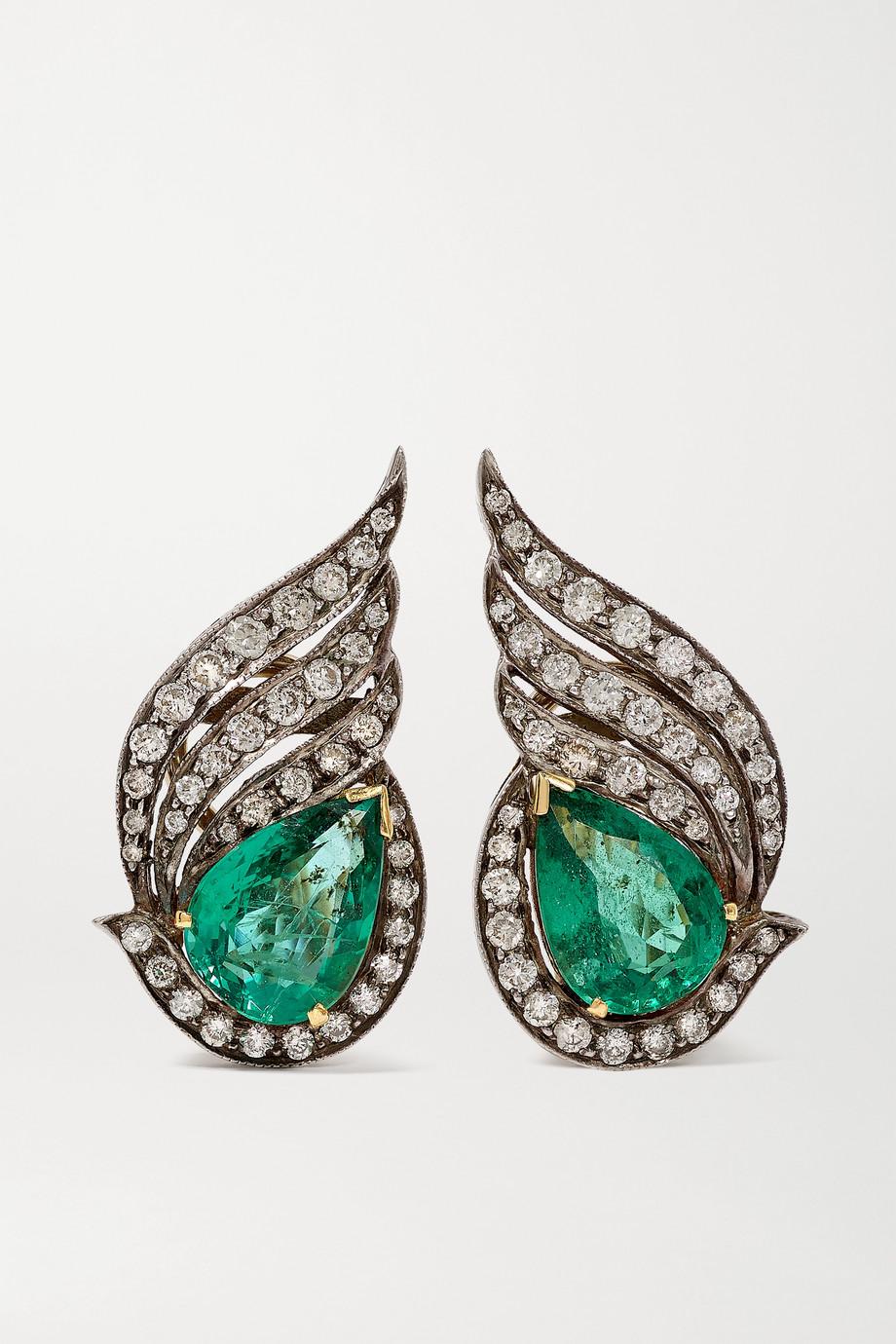 Amrapali Ohrringe aus 18 Karat Gold und Sterlingsilber mit Smaragden und Diamanten