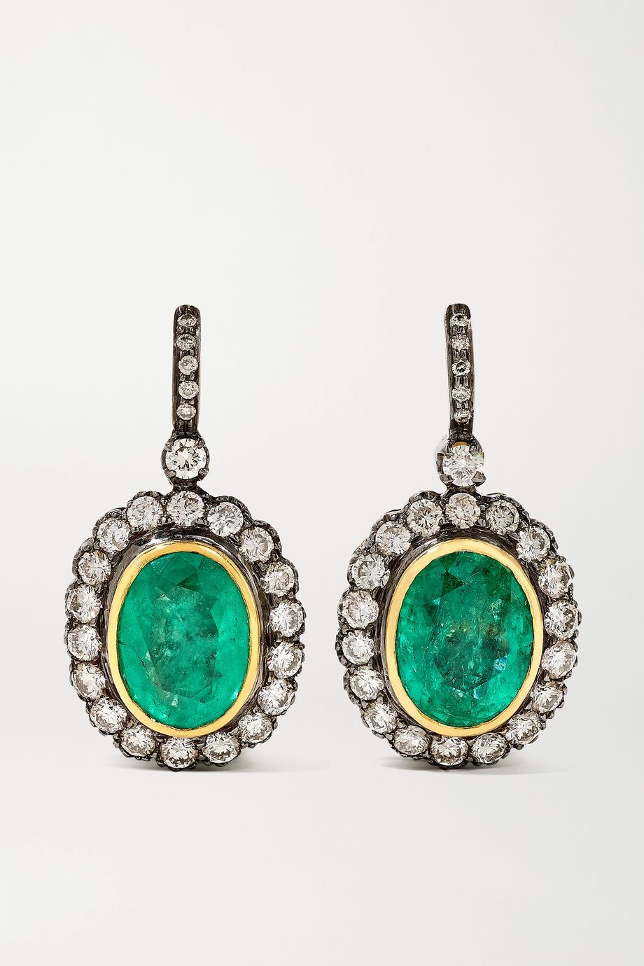 Amrapali Sterling silver and 18-karat gold, emerald and diamond earrings