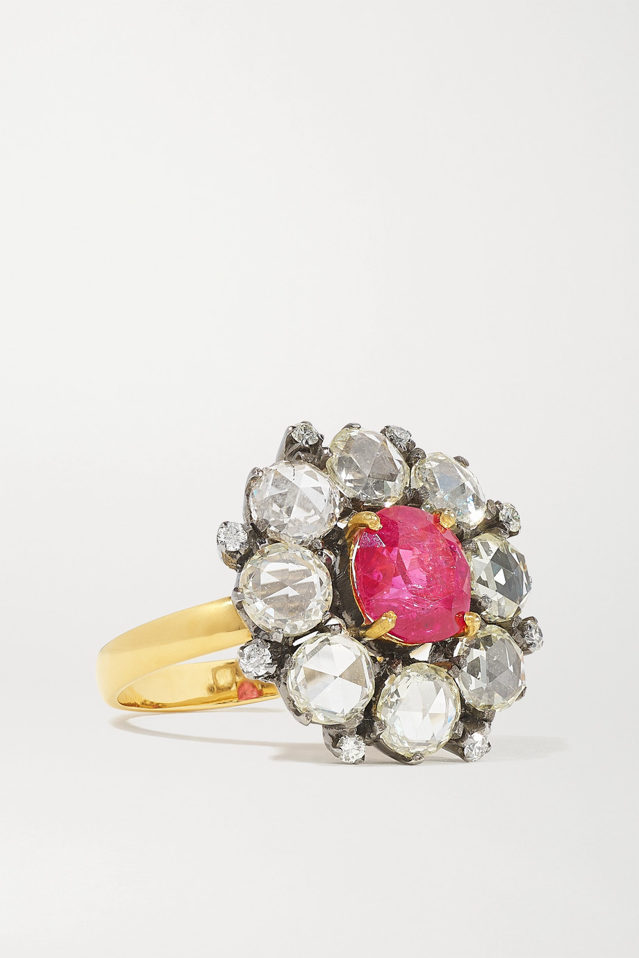Amrapali Ring aus 18 Karat Gold mit Sterlingsilberauflage, Diamanten und Rubin