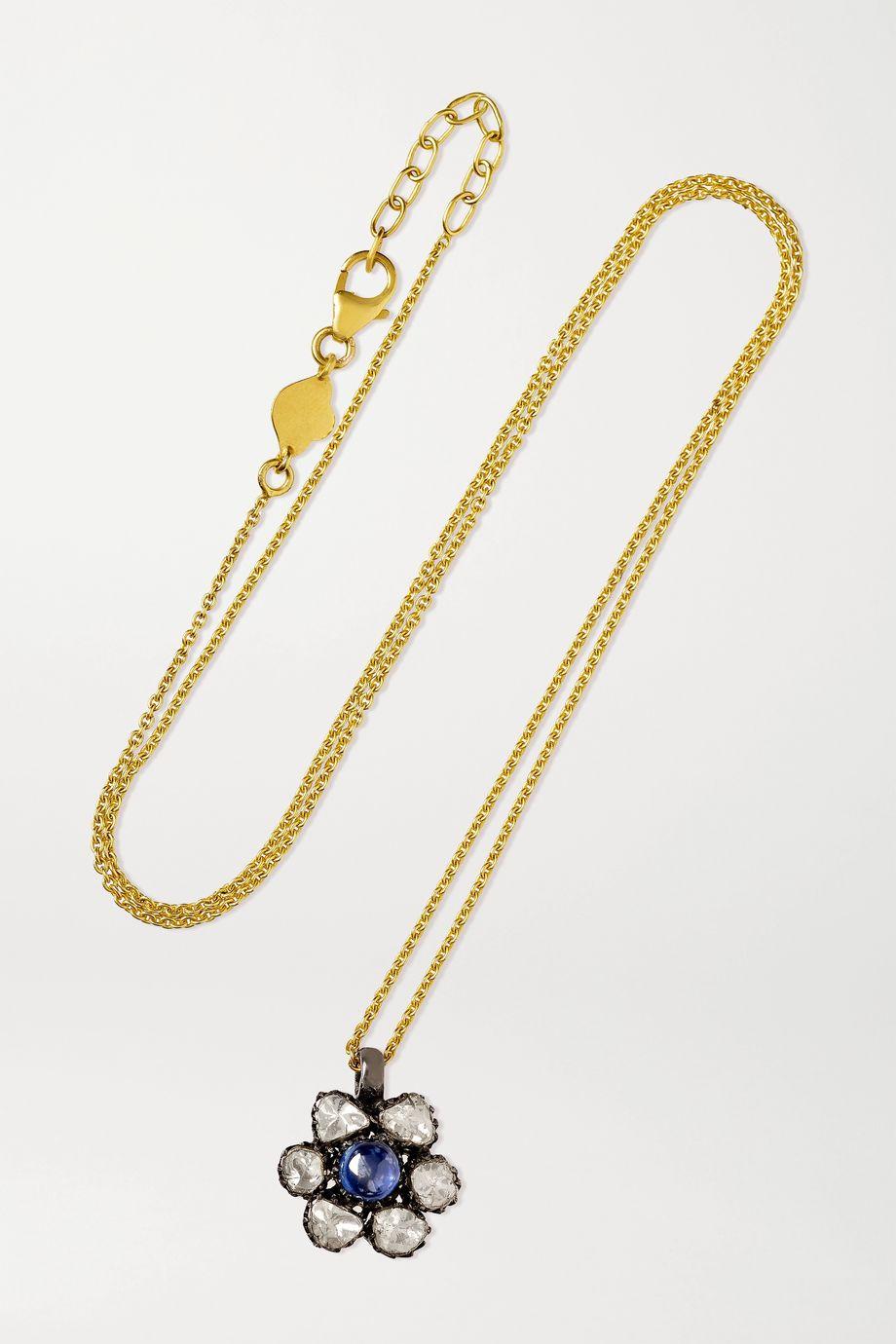 Amrapali Kette aus 18 Karat Gold mit Sterlingsilberauflage, Saphir und Diamanten