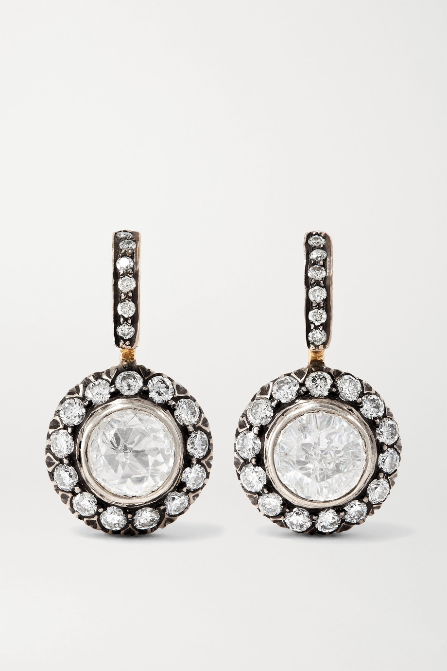 Amrapali 18-karat gold and sterling silver diamond earrings